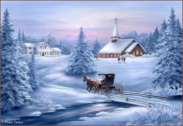 peinture paysage hiver tableaux peintre de noel. Black Bedroom Furniture Sets. Home Design Ideas